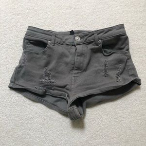 Ripped olive shorts